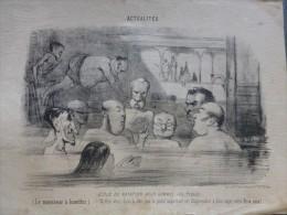 Ch. VERNIER Lithographie Originale Vers 1848, Caricature Ecole Natation (entre 2 Eaux) Pour POLITIQUES; Ref 283 G14 - Prints & Engravings