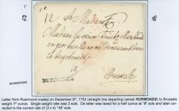 """Lettre 1752 marque """"RURMONDE"""" + """"1 O"""" (1 once) + """"12"""" sols pour Bruxelles."""