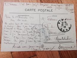 Carte Postale 1917 Nimes Faverolles Par Montdidier (somme) Hôpital Auxiliaire 103 - Documenti Storici