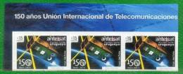 1519b URUGUAY 2015 -150 Años Unión Inter. De Telecomunicaciones-TT.:Satélites, Espacio,Tierra,Antenas - Uruguay