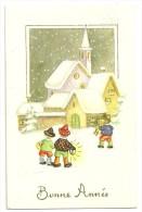 Bonne Année. Village Et église Sous La Neige. Enfants, Lanterne, Biniou - Fêtes - Voeux