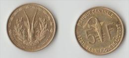 Monnaie Côte D'Ivoire 5 Francs Xof 2014, Circule Peut Dure à Trouver - Côte D'Ivoire