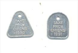 Lot De 2 Médailles - Taxe Pour Chien - Liège 1900 Et 1991 - Otras Colecciones