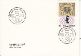SCHACH-CHESS-ECHECS-SCACC HI, HUNGARY, 1974, Special Postmark !! - Schaken