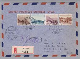 Liechtenstein 1946-01-12 Erstflug Schweiz-USA New York CHF 2.00 - Poste Aérienne