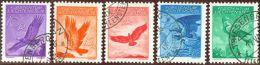 Liechtenstein Flug 1936 Satz Geriffelt Zu#F9z-F13z Mi#143y-147y Gestempelt - Poste Aérienne