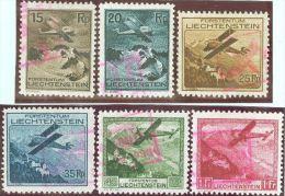 Liechtenstein Flug 1930 Satz Mit Rotem Sonderstempel Zu#F1-6 Mi#108-113 - Poste Aérienne