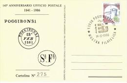 """1986 - ANNULLO POSTALE """"MOSTRA FILATELICA CASC B.I. - POGGIBONSI"""" - 1981-90: Storia Postale"""