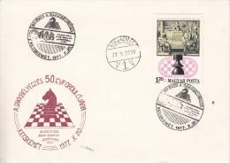 SCHACH-CHESS-ECHECS-SCACC HI, HUNGARY, 1977, Special Postmark !! - Scacchi