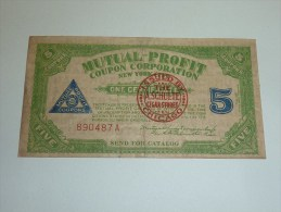 """MUTUAL-PROFIT - COUPON CORPORATION NEW-YORK CITY """"FIVE"""" - TAMPON (rouge); THE A.SCHULTE CIGAR STORES CHICAGO - Cigarette Cards"""