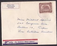 Guatemala: Small Cover To USA, 1 Stamp, Airmail Label Via Pan American World Airways (minor Damage) - Guatemala