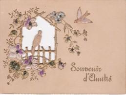DECOUPI  SOUVENIR D'AMITIE. 1922 - FLEURS - OISEAU - BORD Doré - Découpis