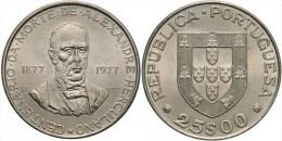 """PORTUGAL  25 Escudos 1.977  Cu Ni  KM#608 Gomes 55.01  """"ALEXANDRE HERCULANO""""  UNC/SC  T-DL-11.354 - Portugal"""