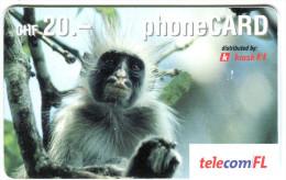 1 - Monkey - Prepaid Card - Liechtenstein 2004 - Used - Oerwoud