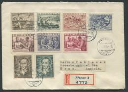 TSCHECHOSLOWAKEI / REKO Brief Mit Mischfrankatur (3 Sätze) Von Prerov Nach Graz Vom 14.08.1952 - Tschechoslowakei/CSSR