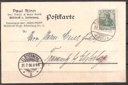 Deutsches Reich - Ganzsache - Schönberg - Elsterberg 1906 - Deutschland