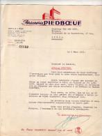 LETTRE   BRASSERIE    PIEDBOEUF      LIEGE - 1950 - ...