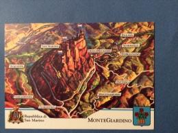 SAN MARINO CASTELLI E UFFICI  - MONTEGIARDINO.   CARTOLINA ED ANNULLO SPECIALE - San Marino