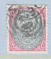 DENMARK  31 B      Perf.  14 X  13 1/2  (o)  INVERT.  FRAME  ON THIN  PAPER - 1864-04 (Christian IX)