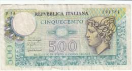Italy #94, 500 Lire 1976 Banknote Money - 500 Lire