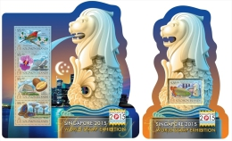 slm15102ab Solomon Is. 2015 Unusual Shape Singapore 2015 World Stamp Exhibition 2 s/s Lion Fish
