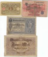 Lot Of 4 Germany Banknotes, #48 20 Marks 1914, #55 2 Marks 1914, #56b 5 Marks 1917, #58 1 Mark 1920 - Germany