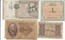 Lot Of 4 Italy Banknotes, #26 1 Lira 1939, #28 5 Lire 1940, #M10b 1 Lira 1943, #109a 1000 Lire 1982 - [ 9] Collezioni