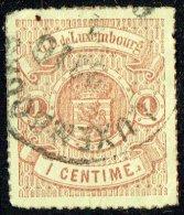 1865  Armoiries  Percé En Lignes Colorées   1 Cent.  Oblitéré - 1859-1880 Coat Of Arms
