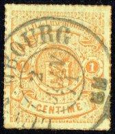 1865  Armoiries  Percé En Lignes Colorées   1 Cent. Orange -rouge  Oblitéré - 1859-1880 Coat Of Arms