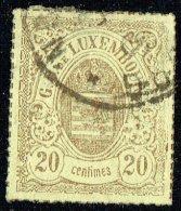 1865  Armoiries  Percé En Lignes Colorées   20 Cent.   Oblitéré - 1859-1880 Armoiries