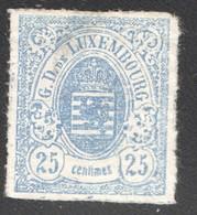 1865  Armoiries  Percé En Lignes Colorées   25 Cent. Outremer No 20  (*)  Petit Aminci - 1859-1880 Armoiries
