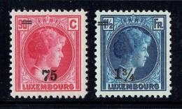 1927  Charlotte De Profil  2 Valeurs Surchargées  75 C / 90 C Et 1¾ Fr / 1½ Fr * - 1926-39 Charlotte De Profil à Droite