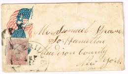 US  PATRIOTIC COVER  Scott #65 Large Cambridge Sep 12 C. 1862 Lady Liberty & Flag To Samuel Brown NY Fine - Postal History