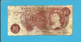 GREAT BRITAIN - 10 Shillings - ND ( 1966 - 1970 ) - Pick 373 C - Sign. J. S. Fforde - BANK OF ENGLAND - 2 Scans - 1952-… : Elizabeth II