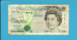 GREAT BRITAIN - 5 POUNDS - ND ( 1991 - 92 ) - P 382 B - Sign. G. E. A. Kentfield - BANK OF ENGLAND - 1952-… : Elizabeth II.