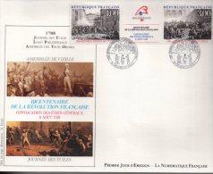 Enveloppe Premier 1er Jour FDC First Day Cover Grand Format Bicentenaire Révolution Française Grenoble Vizille - FDC