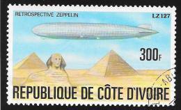 IVORY COAST - Scott #444 Zeppelin, Schwaben LZ127 Over Sphinx & Pyramids / Used Stamp - Mongolfiere
