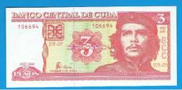 CUBA -  3 Pesos 2004 SC  P-123 - Cuba