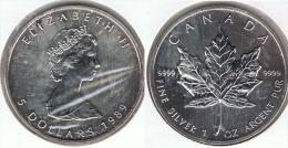 CANADA 5 DOLLARS OUNCE 1989 PLATA SILVER F1 - Canada