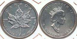 CANADA 5 DOLLARS OUNCE 1991 PLATA SILVER F1 - Canada