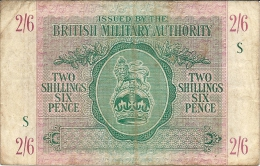 N. 1 Banconota - Occupazione Britannica In Sicilia - TWO SCILLINGS SIX PENCE - BRITISH MILITTARY AUTHORITY - 1943 - Military Issues