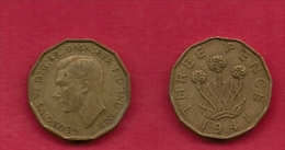 UK, 1941, Very Fine Used Coin, 3 Pence, George VI, Nickel-Brass,  KM 849, C2781 - F. 3 Pence