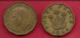 UK, 1944, Very Fine Used Coin, 3 Pence, George VI, Nickel-Brass,  KM 849, C2784 - F. 3 Pence
