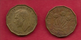 UK, 1945, Very Fine Used Coin, 3 Pence, George VI, Nickel-Brass,  KM 849, C2785 - 1902-1971 : Post-Victorian Coins