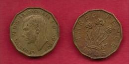 UK, 1945, Very Fine Used Coin, 3 Pence, George VI, Nickel-Brass,  KM 849, C2785 - F. 3 Pence