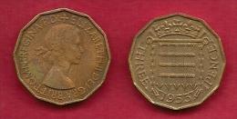 UK, 1953, Very Fine Used Coin, 3 Pence, QE II, Nickel-Brass,  KM 886 C2786 - F. 3 Pence