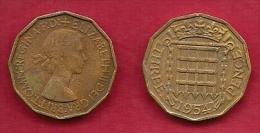 UK, 1954, Very Fine Used Coin, 3 Pence, QE II, Nickel-Brass,  KM 886 C2787 - F. 3 Pence