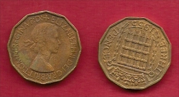 UK, 1955, Very Fine Used Coin, 3 Pence, QE II, Nickel-Brass,  KM 886 C2788 - F. 3 Pence