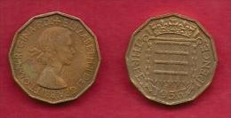 UK, 1956, Very Fine Used Coin, 3 Pence, QE II, Nickel-Brass,  KM 886 C2789 - F. 3 Pence