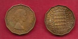 UK, 1959, Very Fine Used Coin, 3 Pence, QE II, Nickel-Brass,  KM 886 C2791 - F. 3 Pence